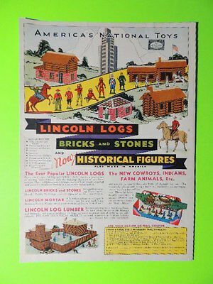 1932 America's National Toys ~ Lincoln Logs ~ Toy Sales Colorful Art Ad