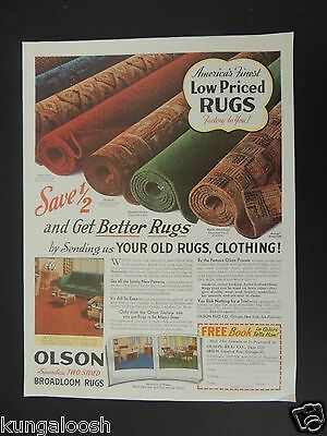 1939 Olson Seamless Two Sided Broadloom Rugs (Book Coupon) Vintage Print Ad