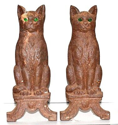 Antique Cast Iron CAT Andirons Statue Set Wood Fireplace Antiques Home Hearth