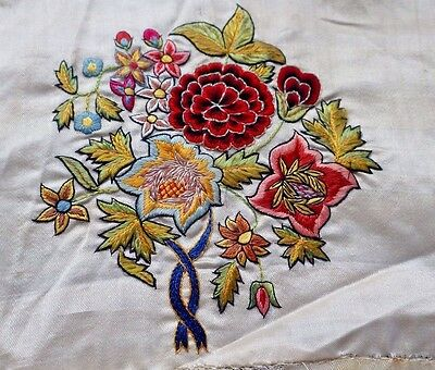 5 BEAUTIFUL French Floral Embroideries SILK ON SILK, V. Precise Work, Dolls