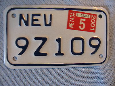 2001 Nevada Motorcycle License Plate  # 9Z109