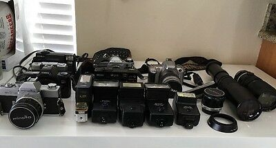 Lot Of 7 Assorted Cameras & Accessories UNTESTED AS IS FOR PARTS OR REPAIR ONLY