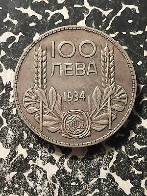 1934 Bulgaria 100 Leva Lot#2793 Large Silver Coin!