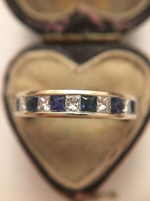 Antique Stunning 18ct White Gold Diamond And Sapphire Half Eternity Band Ring