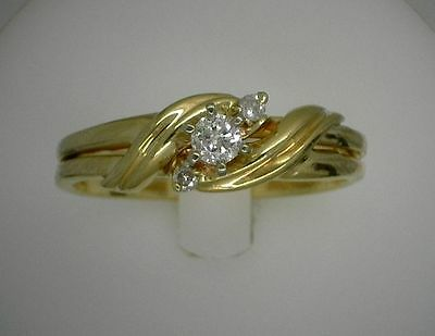 14K Solid Yellow Gold Round Cut Diamond Wedding/ Engagement Soldered Band Ring
