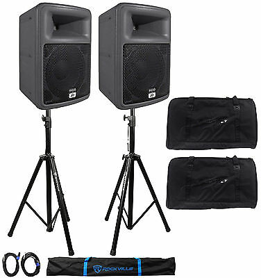 """2) Peavey PR10 10"""" 1600w Speakers+2) Stands+2) Cables+Carry Case+2 Odyssey Bags"""