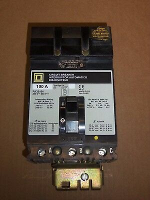 Square D FA 3 POLE 100 AMP 240 V FA32100 CIRCUIT BREAKER GRAY LABEL FLAWED