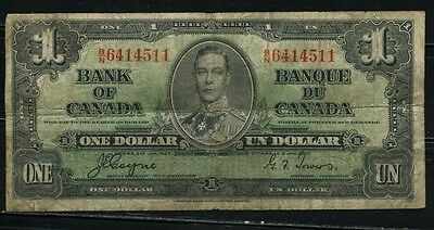 Paper Money Canada 1937 1 dollar B/N6414511