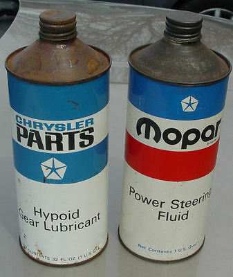 Chrysler Parts Hypoid Gear Lube Oil Can & Mopar Power Steering Can Half Full