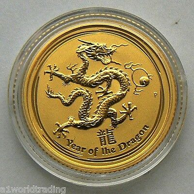 NEW 2012 1/10 OZ LUNAR DRAGON GOLD COIN UNC in CAPSULE