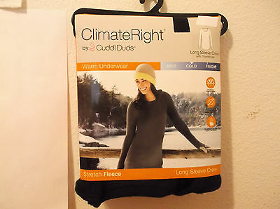 New Lady's Climate Right/ Cuddl Dudds Black Fleece Stretch  L/s  Crew Top