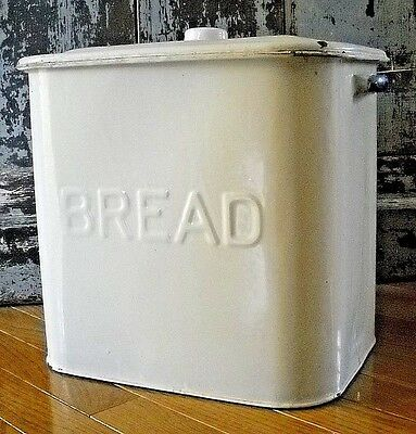 Vintage White Enamel Ware English Bread Box With Blue Handles And Lid