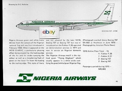 NIGERIA AIRWAYS BOEING 707-3F9C #5N-Abj D c nichols Tech Drawing & History  1977