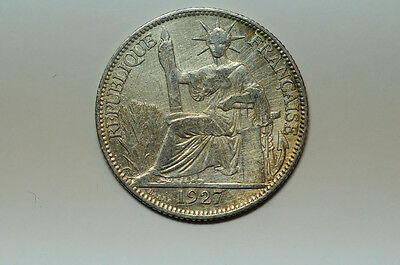 mw2175 French Indo China;  Silver 20 Cents 1927 A  KM#17.1