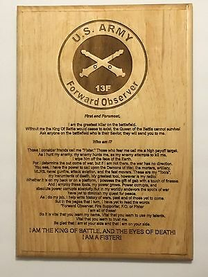 US Army Forward Observer Plaque, F13, Fister,  Fire Support, Military, Marines