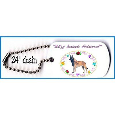 """Belgian Malinois Dog tag necklace metal 24"""" chain"""