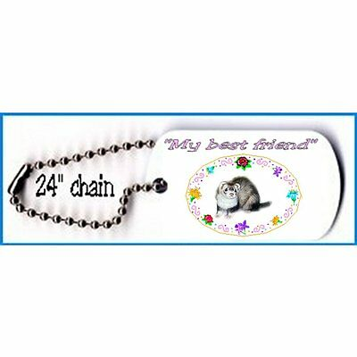 """Ferret Military Style Dog tag necklace metal 24"""" chain"""