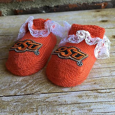 New! Officially Licensed Collegiate Product OSU Newborn Baby Booties