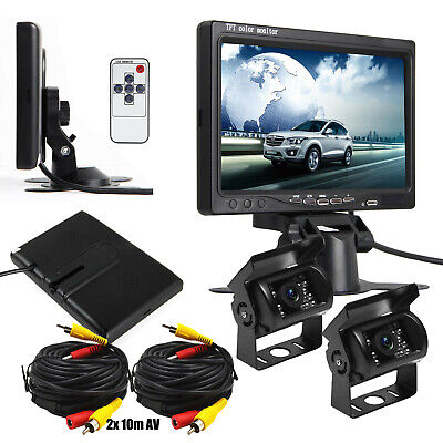 "Bus Truck RV 7"" LCD Rear view Monitor+2 Wired Night Vision Reverse Backup Camera"