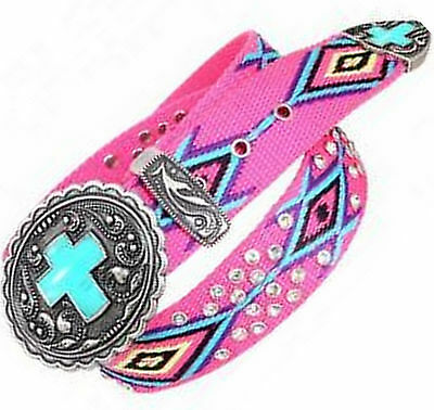 Montana West Western Cowgirl Aztec Turquoise Cross Pink Southwest Belt & Buckle