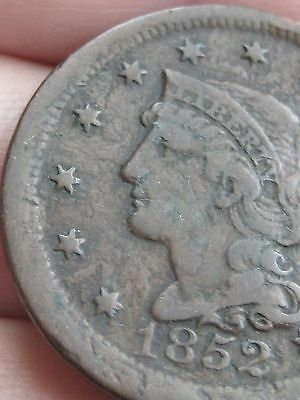 1852 Braided Hair Large Cent Penny, VF Details