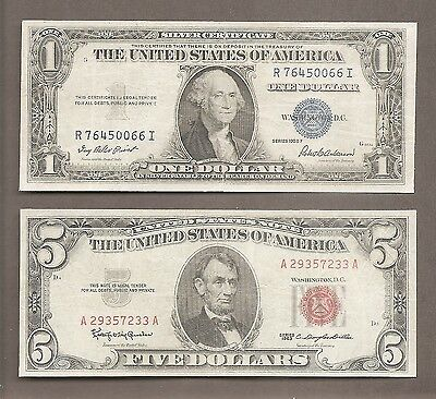 ( 2 ) $1 1935F Silver Certificate & $5 1963 Red Seal Notes