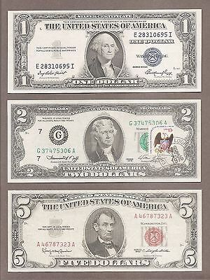 $1 1935E + $2 1976G STAMP + $5 1963 - ( 3 ) Blue + Green + Red Seal Notes