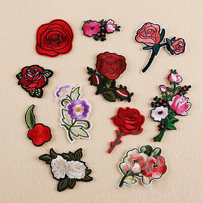 Lots Embroidered Iron on Applique Patch Badge Rose Flower Dress Crafts Sewing TR