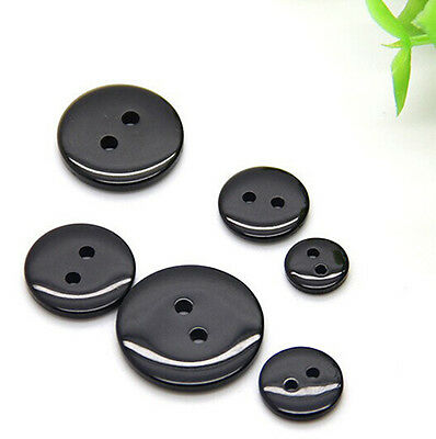 9 ~ 18 mm 100 PC  Black Resin Button Fit for Sewing or Scrapbook