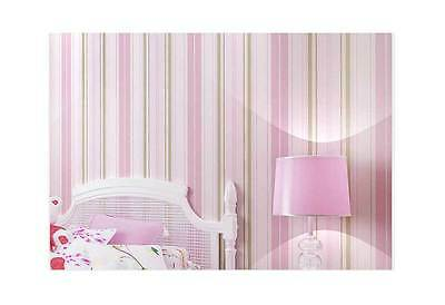 Nursery Baby Girls Room Pink Striped Wallpaper classic strip wall paper roll 10M