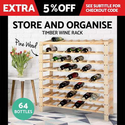 64 Bottle Timber Wine Rack Wooden Storage Cellar Vintry Organiser Stand