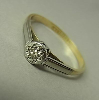 Antique Art Deco Era Platinum, 18Ct Gold & Diamond Solitaire Ring