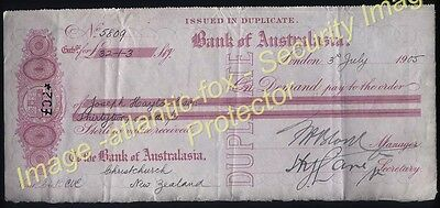 1905 BANK OF AUSTRALIA London Bill of Exchange, payable at CHRISTCHURCH N.Z.