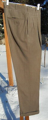 Vintage 1940s Pleated Pants Trousers 31x31 - Sturdy SWING ERA Worsted Wool