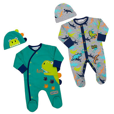 Baby Boy Sleepsuit Babygrow And Cradle Cap  Dinosaur Theme NB To 6-9M Two Styles