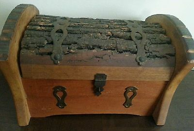 Pirate Treasure Chest Vintage Antique Wood Jewelry Box Rustic w Hardware