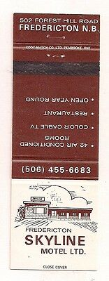 Skyline Motel Ltd. 502 Forest Hill Rd. Fredericton NB New Brunswick Matchcover