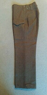 Vintage 1950 Canadian Army Pair Of Wool Battle Dress Trousers Size 8