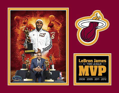 LeBron James Miami Heat 2012 NBA 4-Time MVP Custom Matted 11x14 Photographs