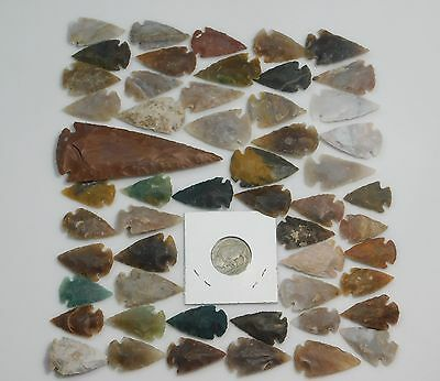 Flint Arrowhead 53Pc Lot Collection Spearhead Arrow Points & Buffalo Coin