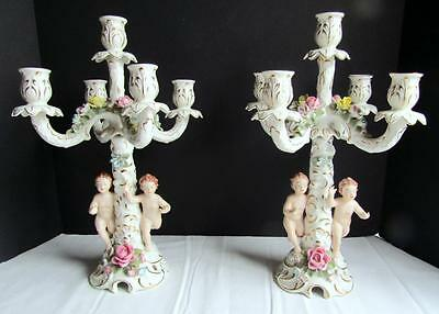 Gorgeous Vintage Pair of Dresden Porcelain 5 Light Cherub Candelabras