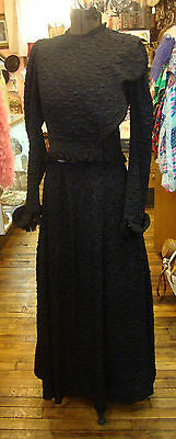 Antique Victorian 2 Piece Black Silk Plisse' Dress with Lace