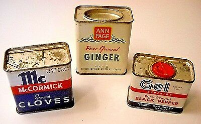 Three Vintage Spice Tins - Black Pepper, Cloves & Ginger * Old Store