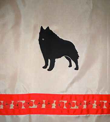 Schipperke Dog Shower Curtain Tan with black dogs and red flower ribbon SALE