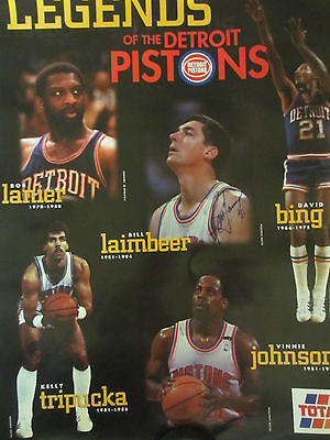 Bill Laimbeer Autographed Legends Of The Detroit Pistons Poster