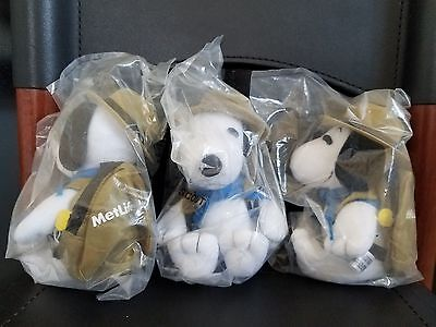 3 MetLife Snoopy Plush Beagle Scouts, Peanuts United Feature, #4425, Woodstock