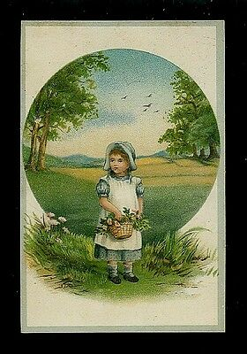 Small Girl W/ Basket of Wildflowers-Victorian Trade Card-Coffee