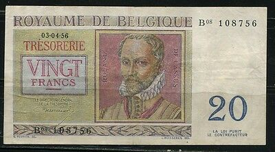 Paper Money Belgium 1956 20 francs,B08108756
