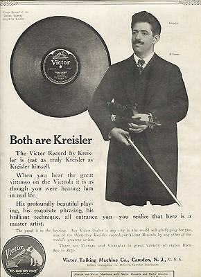 1915 Original VICTOR RECORDS Big Page AD.  VIOLINIST Fritz KREISLER. Large PHOTO