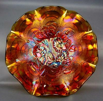 """CARNIVAL GLASS - IMPERIAL PANSY / ARCS AMBER Ruffled 9"""" Bowl"""
